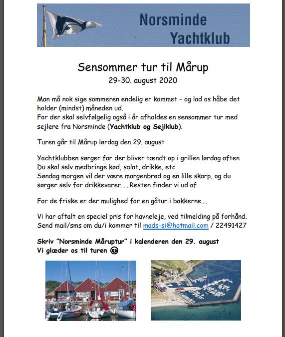Måruptur 29-30 August m. Norsminde Yatchklub